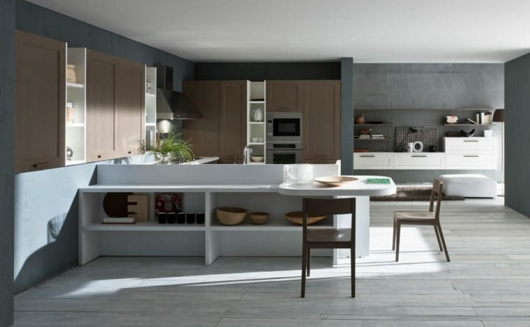 pavimento legno parquet cucine moderne con frigo esterno sedie tavolo isola