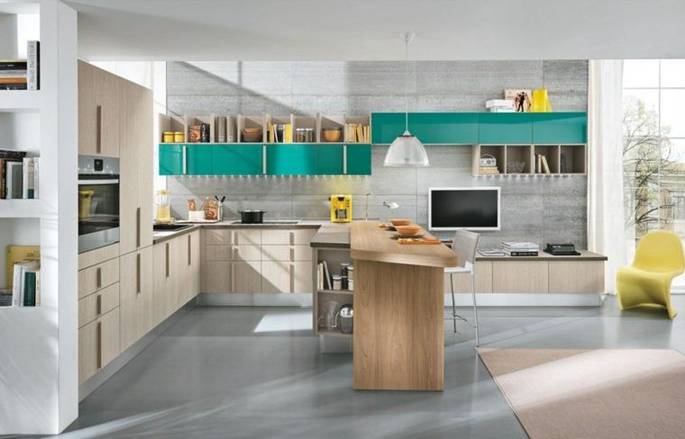 pavimento piastrelle grigie cucine moderne con penisola tavolo legno mensole a vista