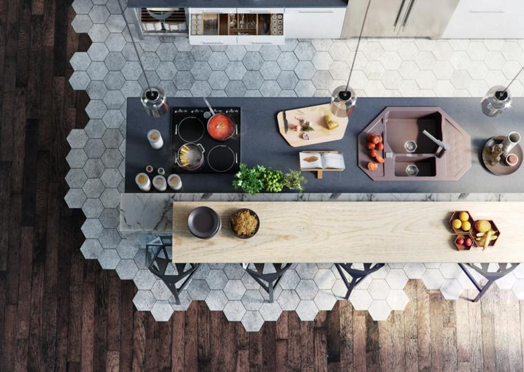pavimento piastrelle marmo tavolo legno sedie cucine con bancone colazione
