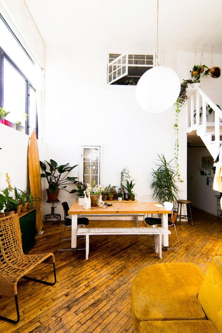 piante sempreverdi da interno pavimento legno tavolino panchina salotto soggiorno