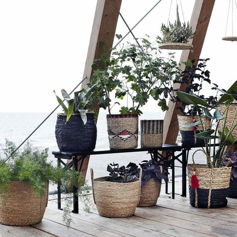 piante sempreverdi da interno vasi tessuto juta foglia larga panchina metallo