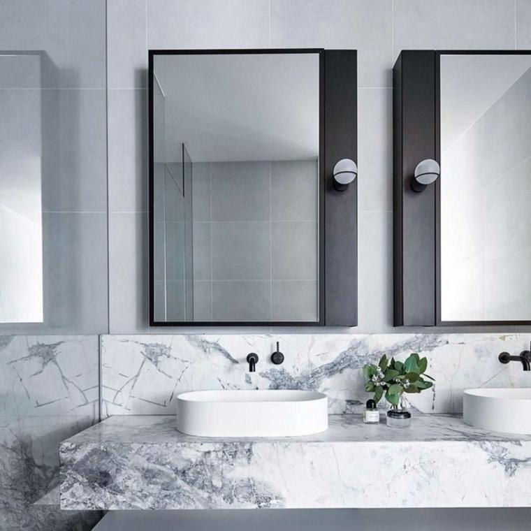 piastrelle bagni moderni effetto marmo lavabo appoggio vaso specchi porta