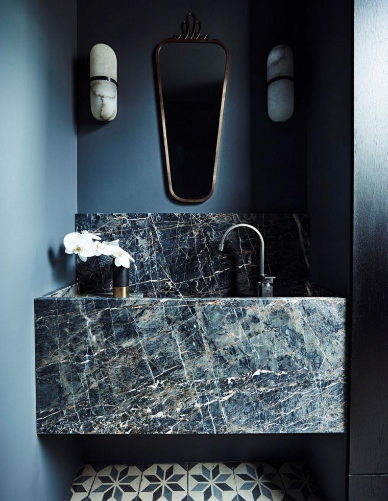 piastrelle bagno colorate grigio pareti pittura mobile lavabo rivestimento vaso lampade