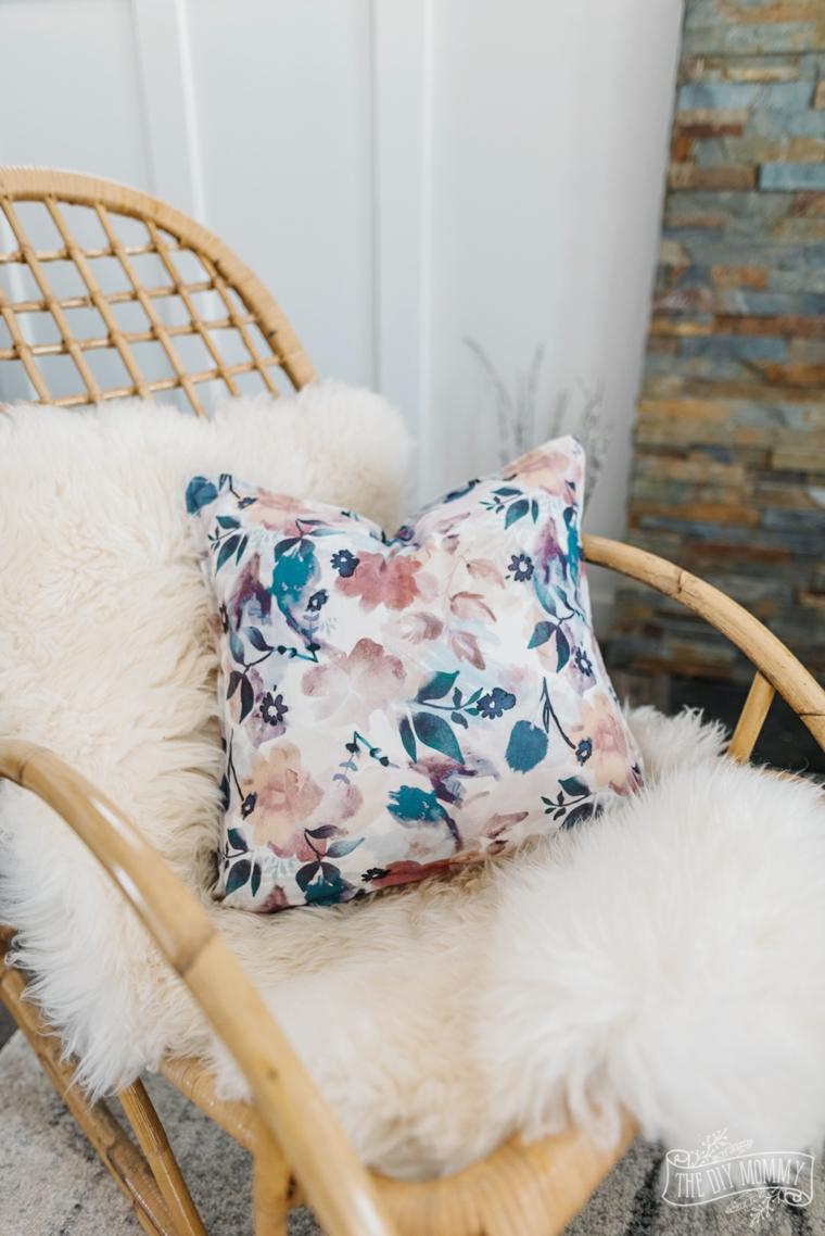 poltrona cuscino print floreali pelliccia terrazzo decorazioni fatti a mano