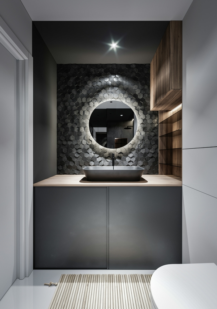 posa piastrelle bagno esempi mobile lavabo appoggio specchio retroilluminazione parete mattoni