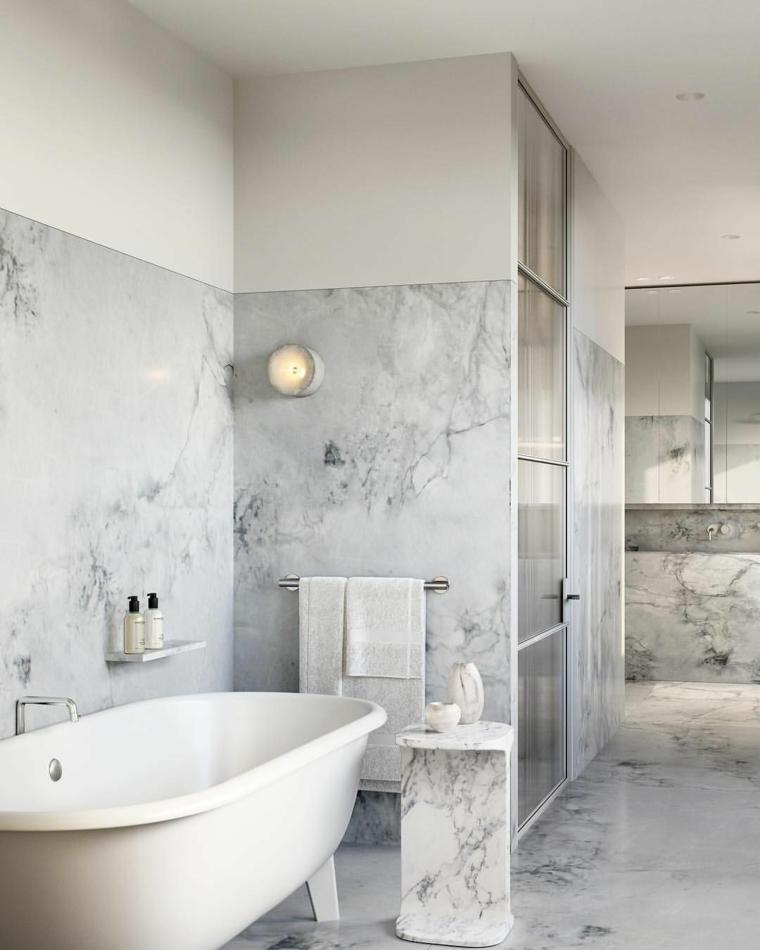 rivestimenti bagni esempi piastrelle effetto marmo vasca doccia porta