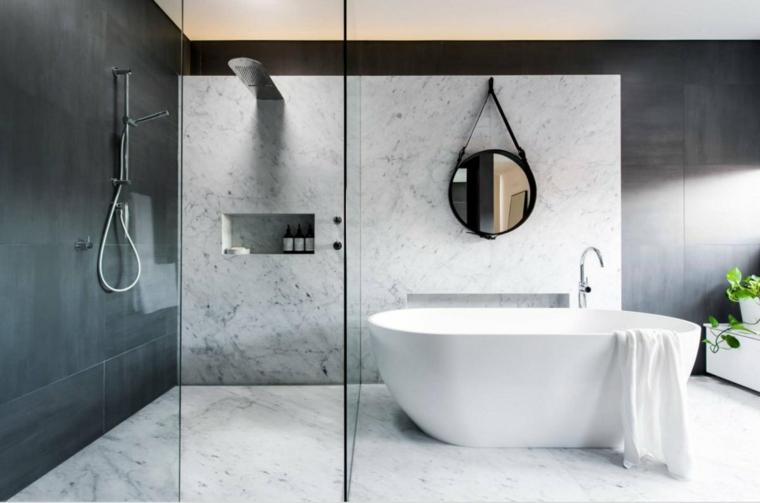 rivestimenti bagni esempi specchio vasca box doccia nicchia porta vetro
