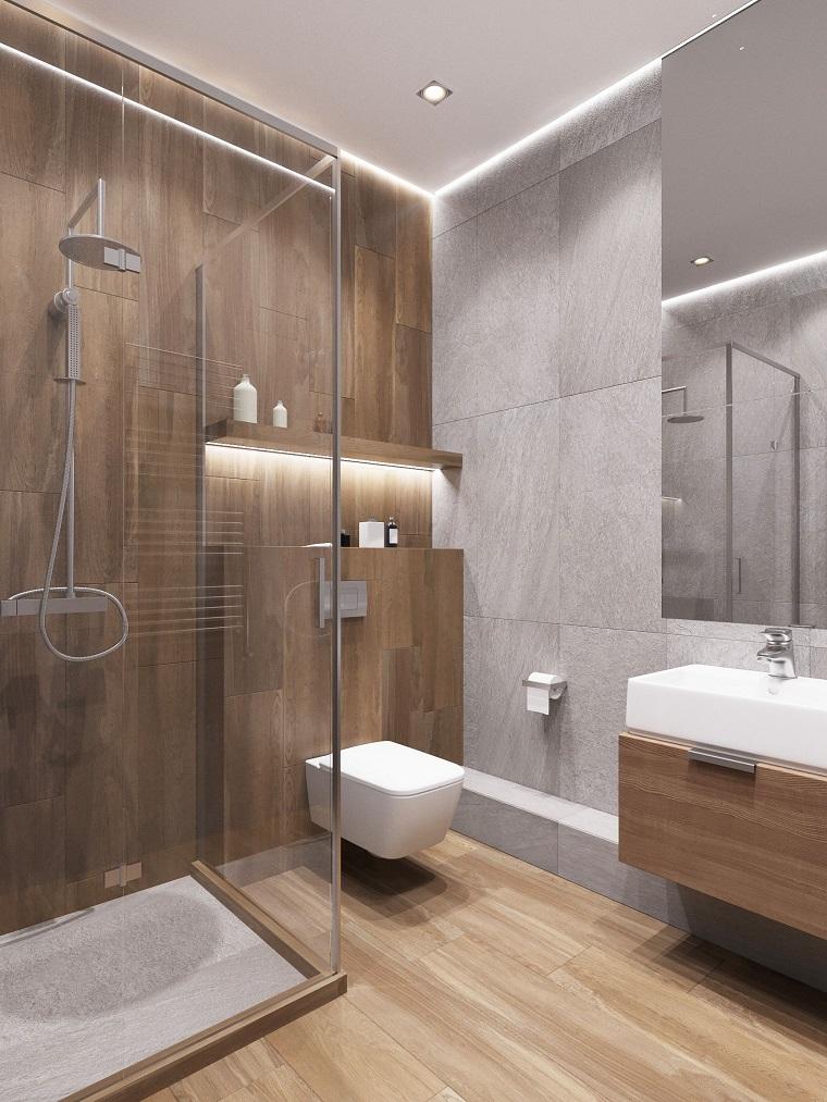 rivestimento bagno effetto legno box doccia vetro mobile lavabo appoggio specchio