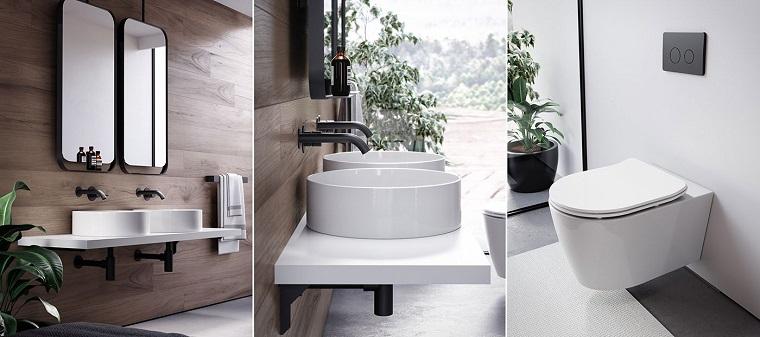rivestimento bagno effetto legno piastrelle lavabo appoggio wc toilette