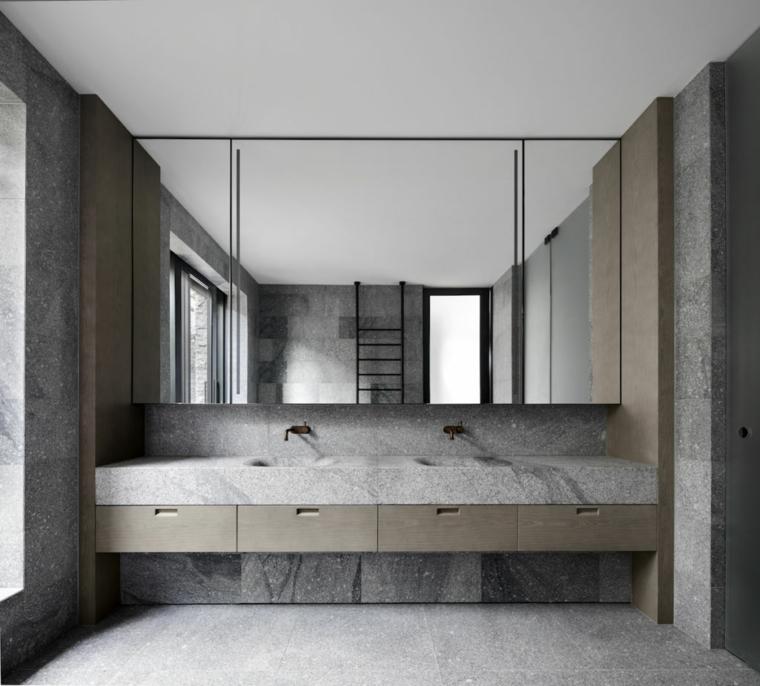 rivestimento bagno effetto pietra doppio lavabo mobile sospeso scaffali specchio