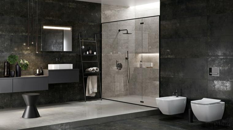 rivestimento bagno effetto pietra mobile lavabo box doccia porta vetro