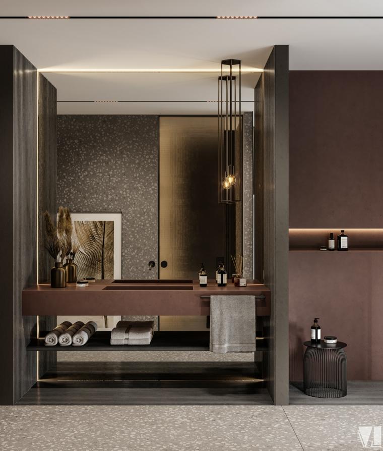 rivestimento bagno moderno lavabo sospeso lampada specchio vaso piante pavimento marmo