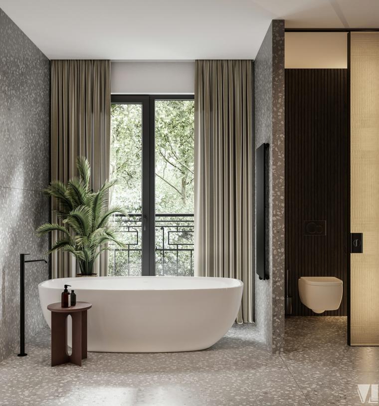 rivestimento bagno moderno mosaico marmo vasca pianta foglia verde tavolino legno