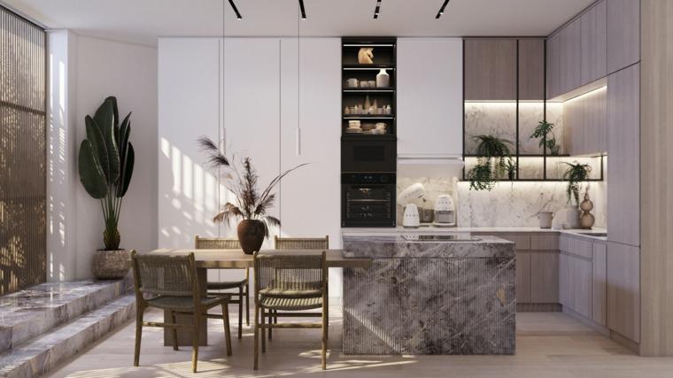 rivestimento marmo cucina ad angolo con penisola vasi piante foglia larga sedie tavolo