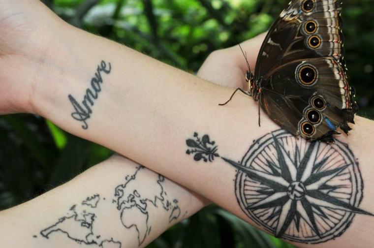 rosa dei venti old school avambraccio donna scritta amore polso mano tattoo tatuaggio