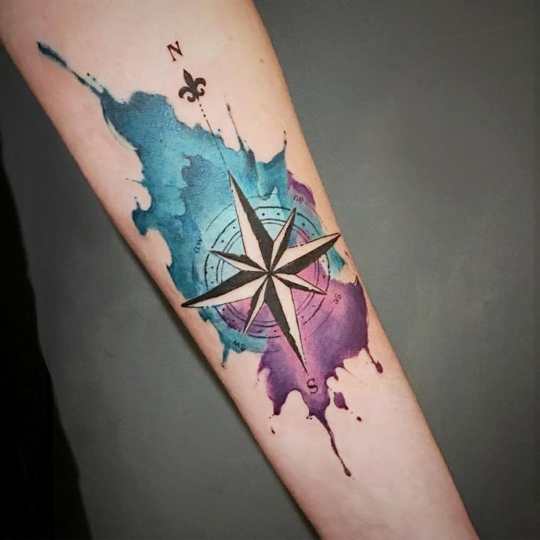 rosa dei venti tattoo vambraccio donna braccio tatuaggio stella macchie color watercolor