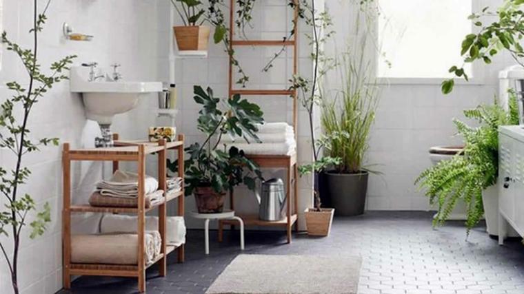 sala da bagno mobili legno finestra piante che non hanno bisogno di acqua