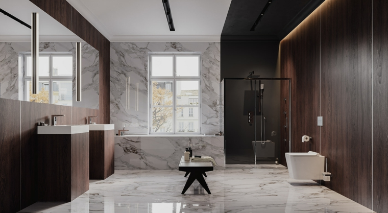 sala da bagno parete pannelli legno pavimento marmo vasca finestra panchina