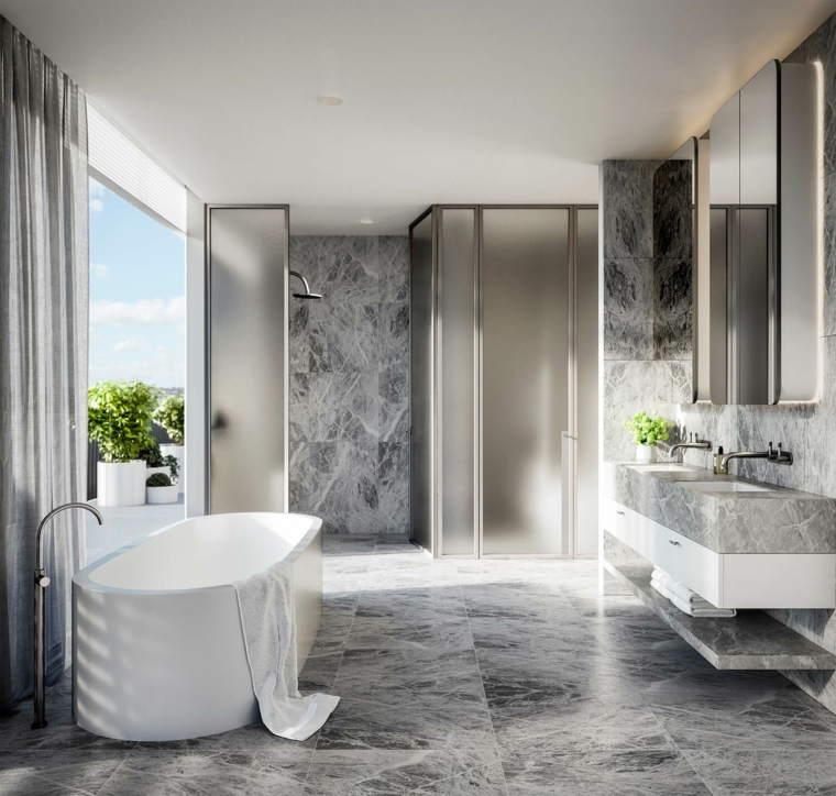 sala da bagno rivestimento marmo piastrelle vasca mobile lavabo box doccia