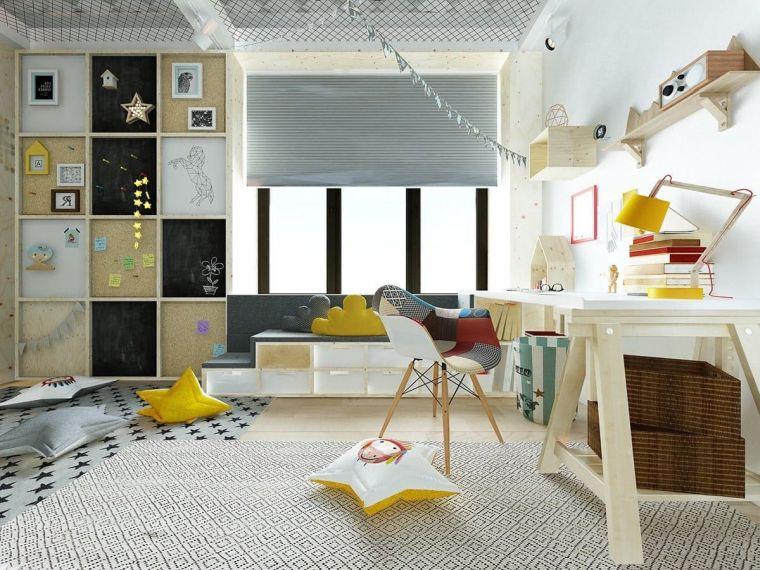 scrivania sedia decorazioni cameretta ragazza armadio cuscini tappeto tende finestra
