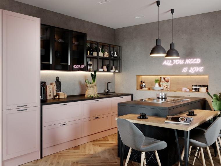 sedie cucina angolare con isola nicchia parete mobili porte legno lampade