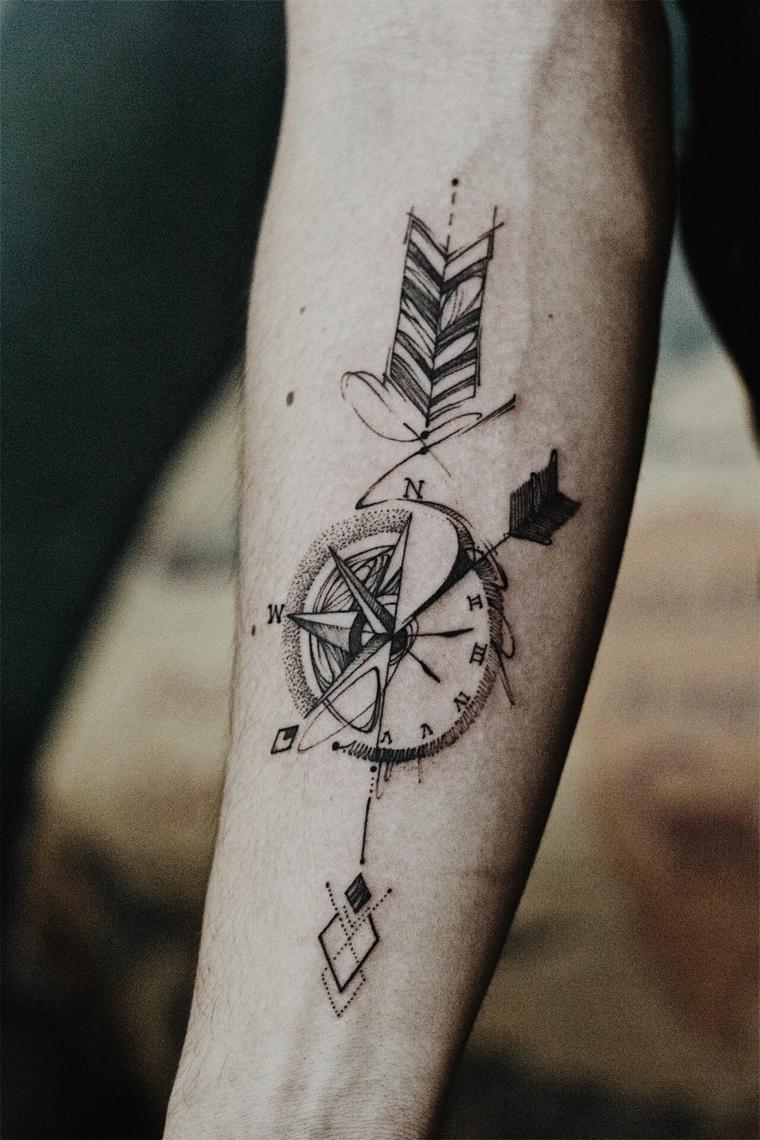 significato rosa dei venti tatuaggio avambraccio uomo tattoo freccia direzioni bussola