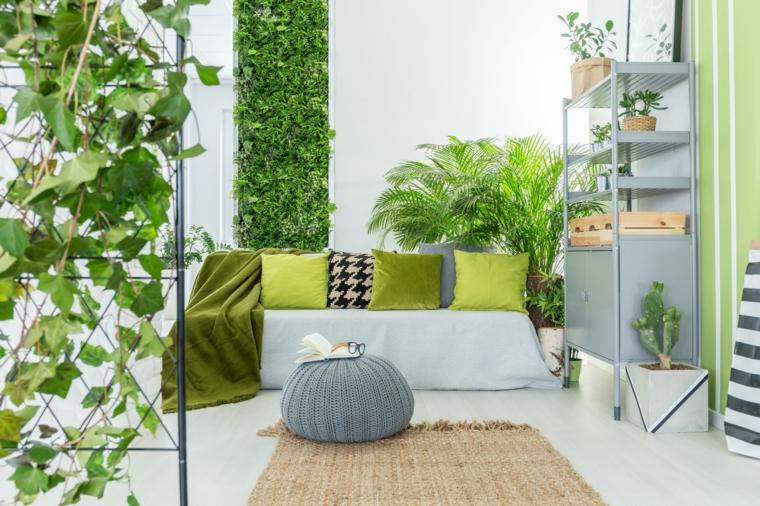 Soggiorno divano cuscini verdi piante da interno foglia larga ornamentali da parete