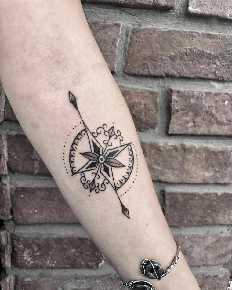 stella polare tattoo avambraccio donna tatuaggio mandala braccio parete mattoni