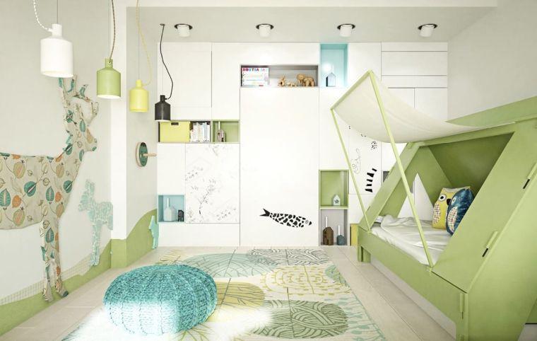 sticker da pareti camerette particolari per bambini letto tenda tappeto armadio mensole