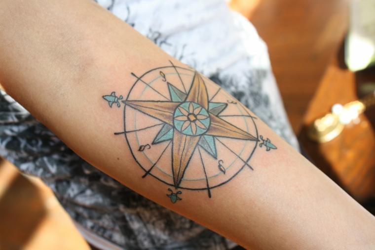 tatuaggio bussola significato avambraccio donna tattoo stella cerchio colorati
