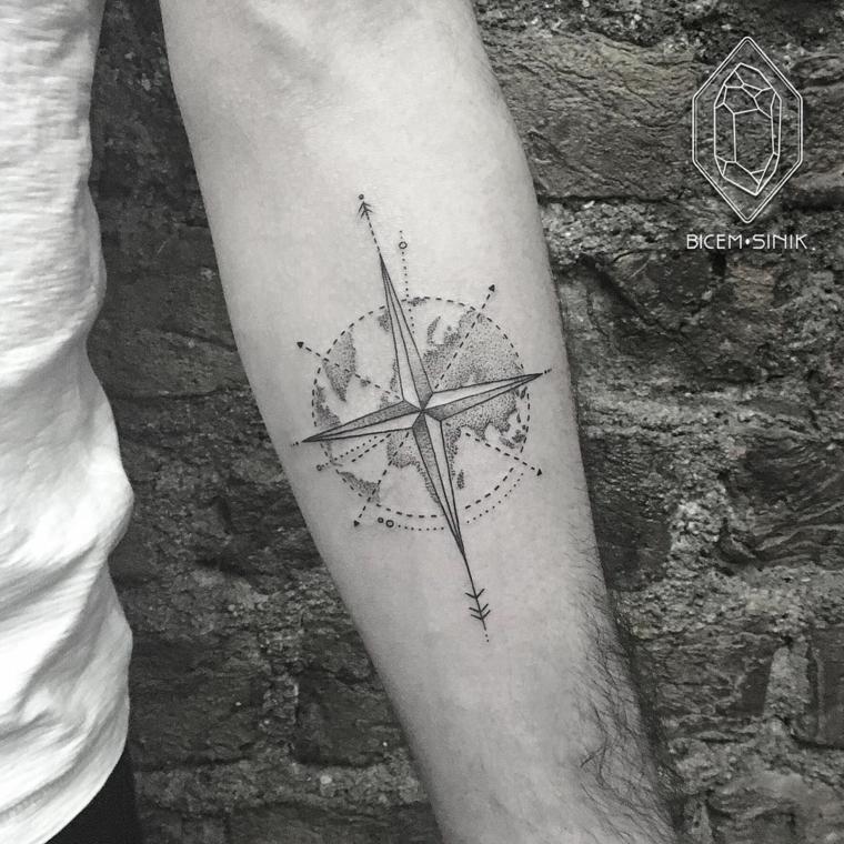 tatuaggio rosa dei venti avambraccio uomo tattoo stella direzioni disegno globo
