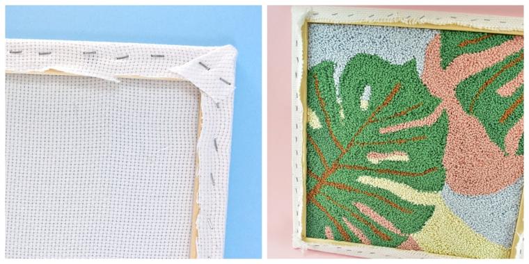 tela cuscini fai da te esterno fili lana colorati cornice legno fodera foglia verde