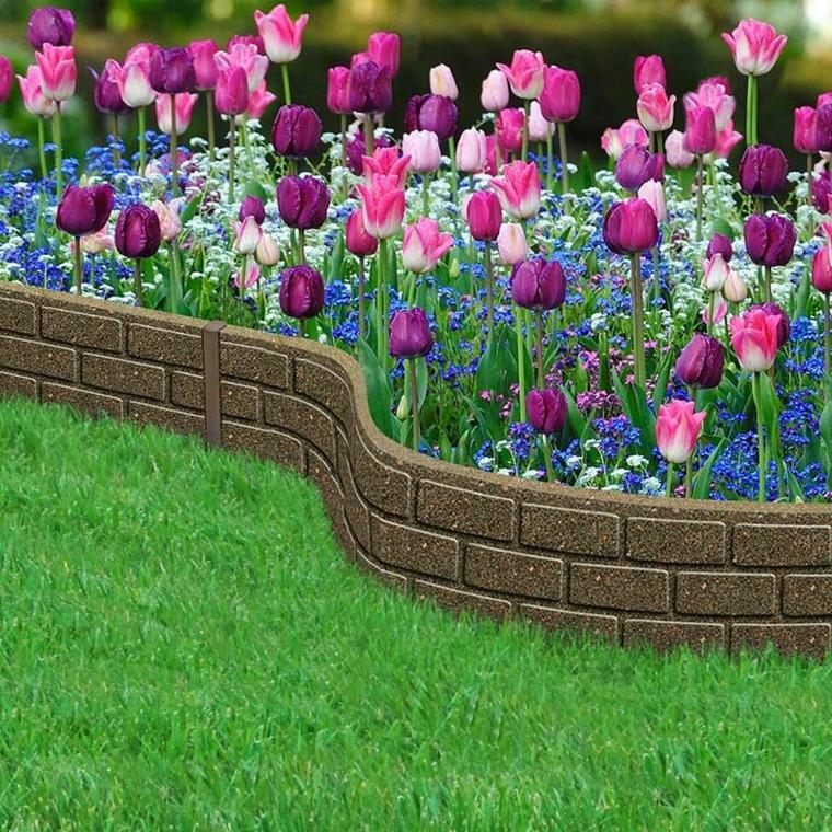 tulipani colorati aiuole da giardino in pietra erba giardino recinzione