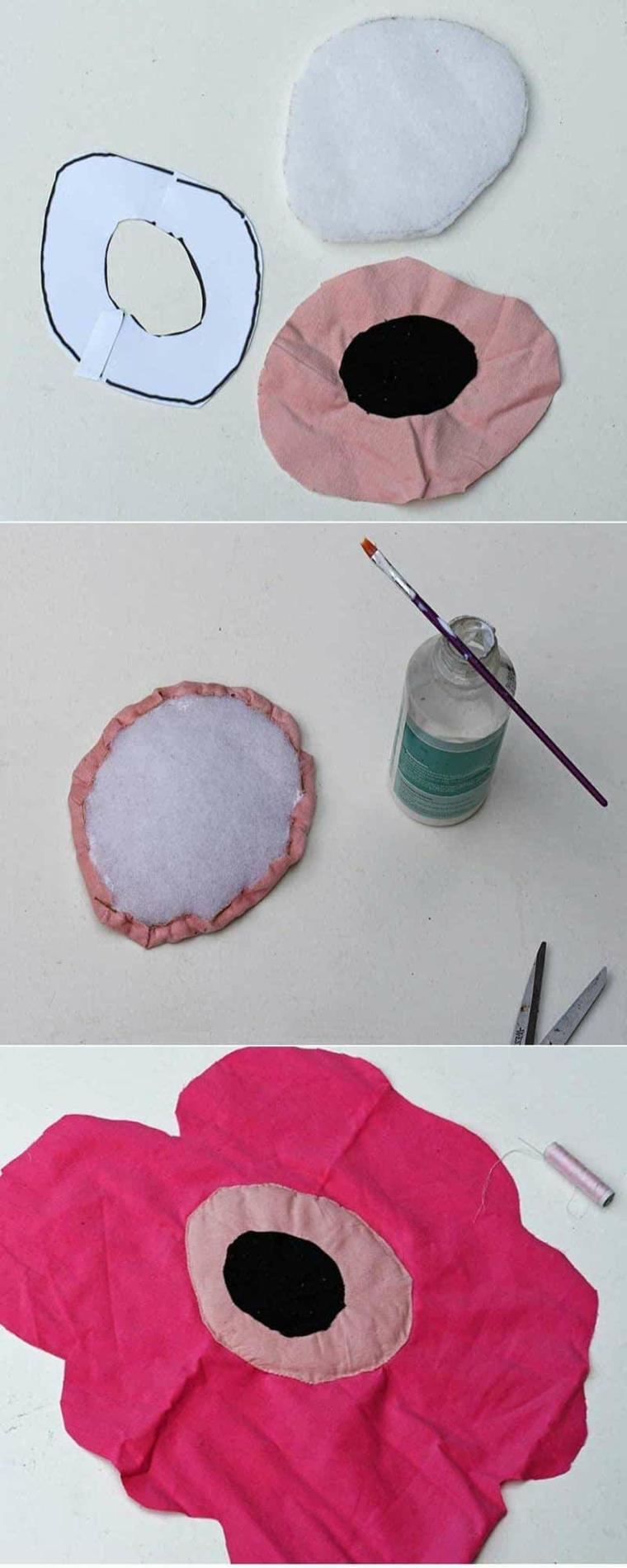 tutorial cucire fodera cuscino print fiore stencil colori fili