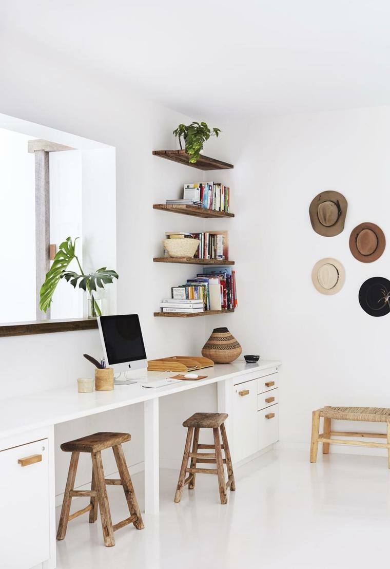 ufficio casa piante resisteni al sole e poca acqua sgabelli legno mensole computer