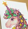 unicorno da colorare animale corno stella natale ornamenti stelle palline occhi muso