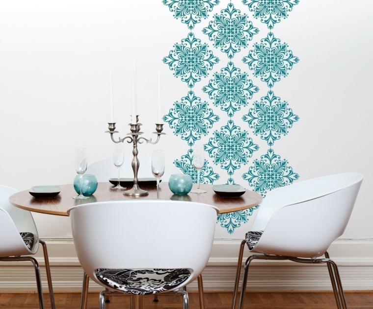 adesivi murali sala da pranzo con tavolo rotondo e sedie stickers colore blu