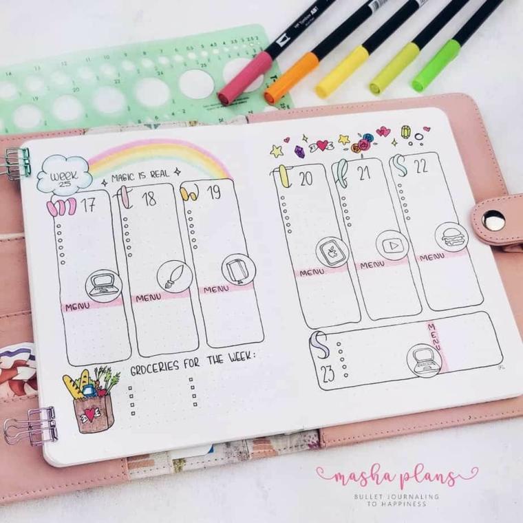 agenda copertina pelle rosa disegni pennarelli colorati stencil scritte bambini