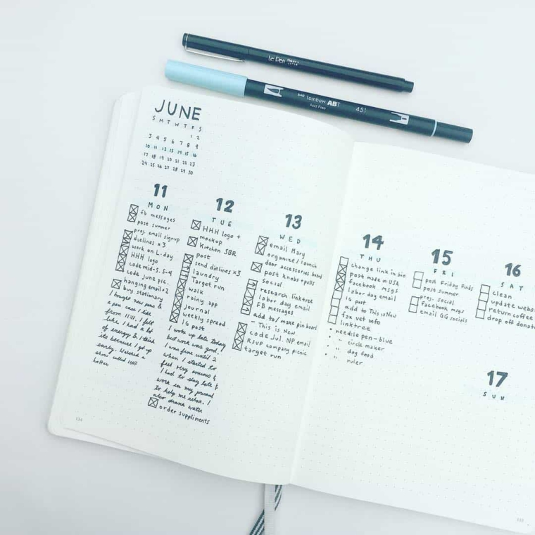 agenda obiettibi penne giorni mese penne notebook bullet journal bujo idee
