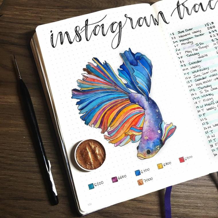 agenda penna disegno pesce acquarelli scritta obiettivi instagram simboli