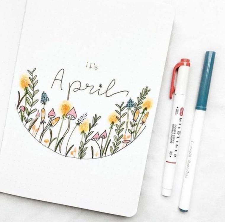 april pennarelli colorati aprile mese agenda decorazioni bullet journal disegno fiori