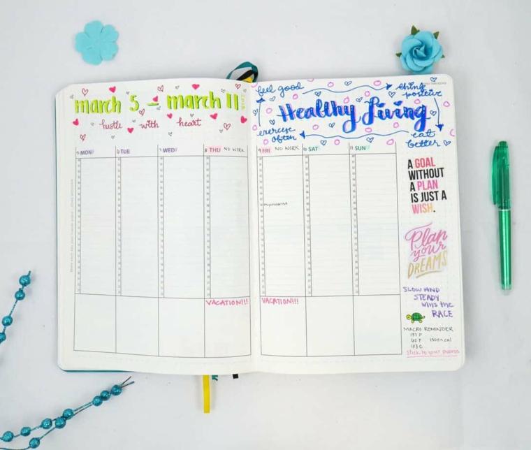 bujo journal quaderno pagine bianche disegni penne colorate scritte agenda