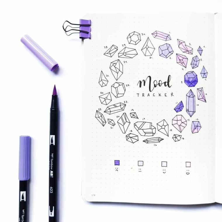 bullet journal idee disegno pennarello scritta mood simboli diamanti pagina quaderno