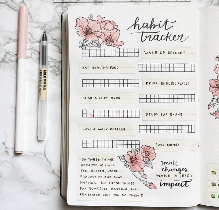 bullet journal idee quaderno pagine penne scritte disegni fiori decorazioni diario agenda
