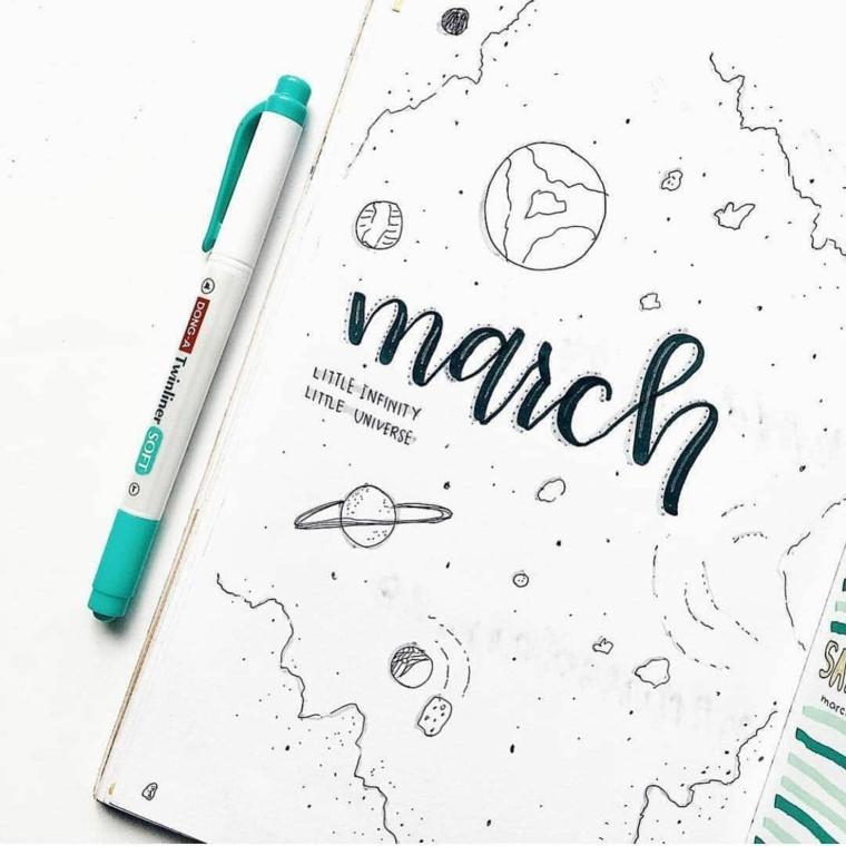 bullet journal italiano marzo penna colorata pianeti disegni bambini diario