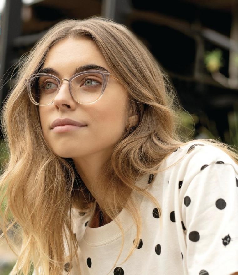 cat eye modello montatura come scegliere gli occhiali da vista donna capelli biondi mossi