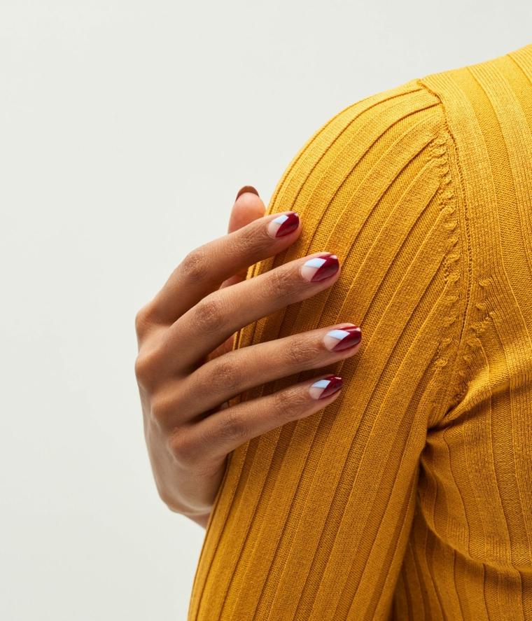 colori gel unghie autunno 2020 manicure corta ovale diversi smalti
