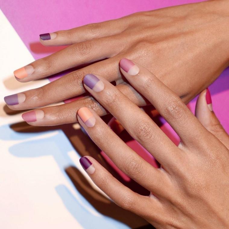 colori unghie semipermanente smalto viola mat manicure a mandorla con french