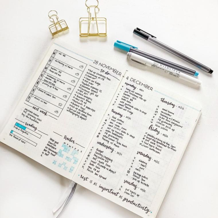 come decorare il bullet journal pagine quaderno notebook pennarelli colorati