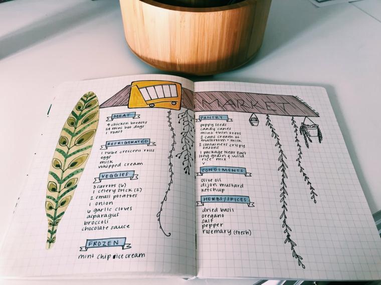 come fare un bullet journal quaderno a quadretti disegno piuma scritte pennarelli colorati